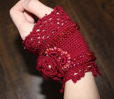 Buy directly from the world's most awesome indie brands. Or open a free online store. Crochet Bracelet, Lace Flowers, Red Lace, Indie Brands, Fingerless Gloves, Arm Warmers, Bracelets, Crocheting, Needlework