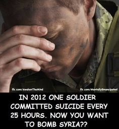 2011: women ages 18 to 34, female vets were 3x more likely to kill themselves than nonvets. (Male vets were 2x as likely to commit suicide as were male nonvets.) Obama- (202) 224-3121 Email- http://www.whitehouse.gov/contact/submit-questions-and-comments Congress- http://www.contactingthecongress.org/ Petition- http://www.dontattacksyria.com http://www.democracyforamerica.com/pages/857-dfa-membership-survey-syria? Protest- http://interoccupy.net/blog/map-of-nowarwithsyria-protests/