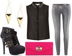 How to style a studded top for night - grey skinny jeans, black ankle booties, stud drop earrings, hot pink clutch