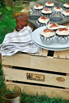 Ultimate tailgating dessert: Chocolate beer and bacon cupcakes. Developed by @Laurie McNamara ~ Simply Scratch  of simplyscratch.com
