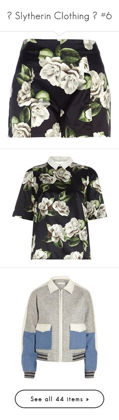 """""""💚 Slytherin Clothing 💚 #6"""" by moon-crystal-wolf ❤ liked on Polyvore featuring shorts, bottoms, skirts, pants, sale, highwaist shorts, river island, floral print shorts, high rise shorts and river island shorts"""