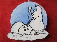 calvin and hobbes snowmen ornament
