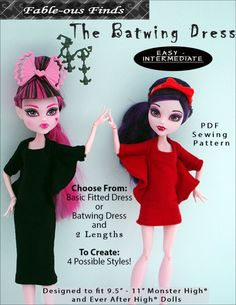 BATWING Dress or fitted dress Sewing Pattern for Monster High Dolls   Fable-ous Finds
