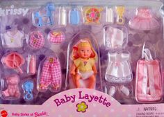 """Barbie KRISSY BABY LAYETTE Doll & Accessories Set (1999) by Mattel. $98.00. All the provided details are to the best of my ability & may not be exact; colors, styles, sizes & details may vary.. For Ages 3+ Years. CAUTION: Small Parts Included. HARD TO FIND SET!. Includes: Krissy Doll approx. 2-3/4"""" tall w/blond hair (molded) w/pink bow on head, & blue eyes. Doll comes with Diaper, yellow Top, Bunting Bag w/pink lining, white Dress w/lace hem, a white Bonnet w/pink..."""