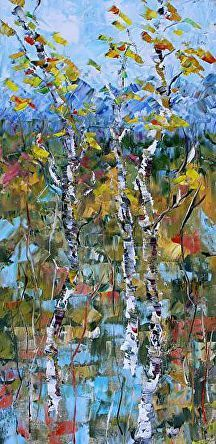 "Fall Mosaic by Judith Babcock Oil ~ 24"" x 12"""