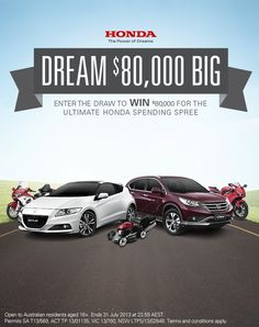 2 x Honda CBR1000's, 1 x Honda CR-V, 5 x Honda HHB25 leaf-blowers. We're giving you the chance to win $80,000 worth of anything Honda you like. What will you get? Enter and REPIN to win http://j.mp/hondadreambig  #Honda #competition #win #80000 #cars #motorbikes #lawnmowers #dreambig