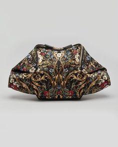 De-Manta Baroque Floral-Print Clutch Bag, Black by Alexander McQueen at Neiman Marcus.