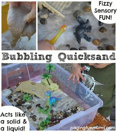 Bubbling Quicksand - Sensory Play :http://pagingfunmums.com/2014/06/22/bubbling-quicksand-sensory-play/