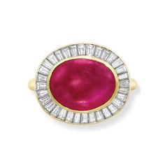 Gold, Cabochon Ruby and Diamond Ring, Harry Winston   18 kt., centering one collet-set oval cabochon ruby* approximately 8.04 cts., surrounded by 32 tapered baguette diamonds approximately 1.30 cts., signed Winston for Harry Winston