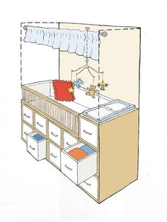 convert closet into mini nursery in small place ... brings back memories of living in army towns