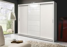 Wardrobe Athens 2 Dimensions: Width: 250 cm / Height: 215 cm / Depth: 61 cm / Available colour: wenge + mirror oak +mirror plum + mirror white + white glass Made of high quality MDF board and PVC Single Door Wardrobe, White Wardrobe, Sliding Wardrobe Doors, Bedroom Wardrobe, Armoire Wardrobe, Small Wardrobe, Sliding Door, Mirrored Wardrobe, Living Furniture