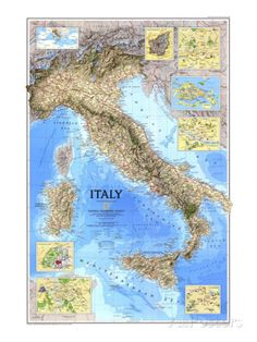 1995 Italy Map Posters at AllPosters.com