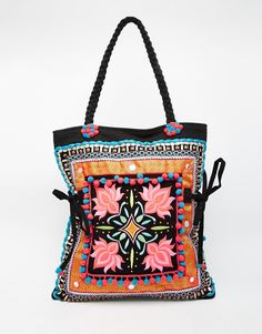 Image 1 ofGlamorous Embroidered Beach Bag With Pom Detail