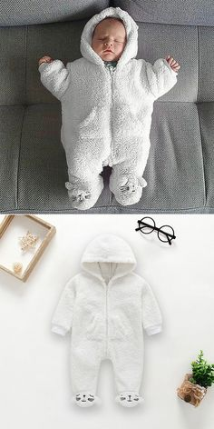 Baby White Soft Sleeping Bag Warm & Velvet For 0-24M