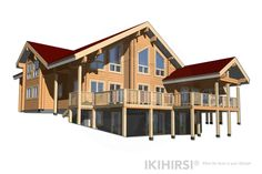 CH3-550 - IKIHIRSI® Log Homes, Cabin, House Styles, Model, Design, Home Decor, Timber Homes, Decoration Home, Wood Homes