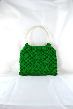 1960s Vintage Green Crocheted Macrame Handbag от TabbysVintageShop