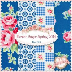 "Flower Sugar Spring 2014 4 FQ Set - Blue by Lecien Fabrics: Flower Sugar Spring 2014 is a collection by Lecien Fabrics. 100% cotton. This set contains 4 fat quarters, each measuring approximately 18"" x 21""."