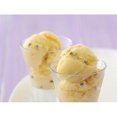 Passionfruit sorbet recipe - By Australian Women's Weekly, This sweet sensation can be churned up in minutes as an ideal finish to a summer dinner party.