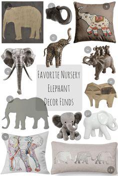 Favorite Nursery Elephant Decor Finds. Beautiful decor finds: elephant pillows, elephant wall plaque, plush elephant, ceramic elephant, golden elephant, elephant door knob. Beautiful AND affordable!
