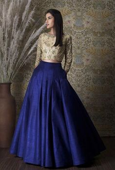 Skirt/ Royal Blue Pleated Skirt Full Length with by KaamdaniCouture Pakistani Dresses, Indian Dresses, Indian Outfits, Salwar Designs, Lehenga Designs, Blouse Designs, Indian Attire, Indian Wear, Indian Blue