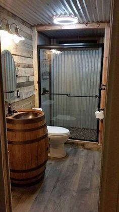 barndominium ideas floor plans Barndominium Floor Plans, Pole Barn House Plans and Metal Barn Homes Cabin Bathrooms, Tiny House Bathroom, Barn Bathroom, Small Bathroom, Bathroom Vanities, Garage Bathroom, Man Cave Bathroom, Basement Bathroom Ideas, Master Bathroom