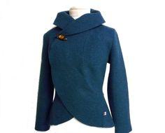 Kurzjacken - Walk Wolle Bolero Jacke,Petrol Gr.XS-L - ein Designerstück von Rosenrot-Modedesign bei DaWanda