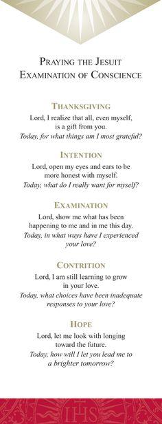 Ignatian examen prayer card - Google Search Catholic Daily, Catholic Prayers, Catholic Art, Roman Catholic, Common Prayer, Daily Prayer, Examination Of Conscience, Ignatian Spirituality, Contemplative Prayer