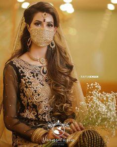 Here is First Bridal Corona Photoshoot Pakistani Bridal, Indian Bridal, Pakistani Dresses, Bridal Outfits, Bridal Dresses, Bridal Portrait Poses, Christian Bride, Bridal Mask, Intimate Wedding Ceremony