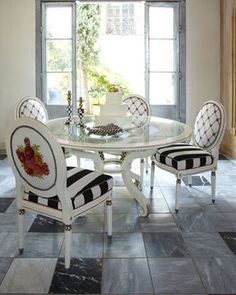 "MacKenzie-Childs ""Merrifield"" Dining Furniture - Neiman Marcus - this is absolutely gorgeous- why wasn't I born wealthy Funky Furniture, Dining Furniture, Furniture Makeover, Painted Furniture, Table And Chairs, Side Chairs, Dining Chairs, Dining Set, Fine Dining"