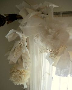 Lacy tattered garland. i did this in the same color etc, have had many compliments