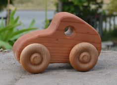"""Our wood toys are hand crafted one at a time in our shop. These toys are made in a simple, safe, durable, and classical design to encourage imagination and creativity in children.    Most of our toys are made from redwood. We use AFM Safecoat Naturals, a natural vegetable oil and wax finish. Each will be slightly different than the one in the photo as the grain and color of the wood differs making them each unique. Measurements: 6"""" long, 4"""" high, 2.75"""" wide Crafty Projects, Projects To Try, Handmade Wooden Toys, Wood Toys, Wood Working, Creativity, Trucks, Tools, Cars"""