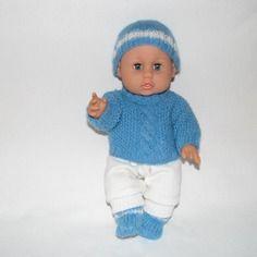 Vetements poupee, poupon 30 cm, pull, chaussons, bonnet, bleu turquoise, pantalon blanc