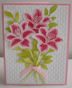 Fifth Avenue Floral    Embossed the lilies in white and cut them out. Sponged color on the petals and then used a Stampin' Write marker to add some dots, rose red, pretty in pink, kiwi, olive