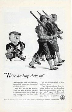Bell Telephone System We're backing them up 1942 ad Army Navy WWII war effort mascot