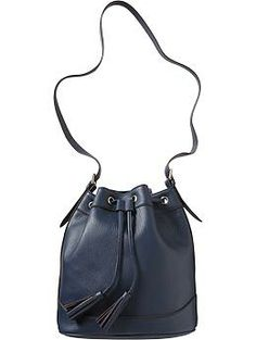 Womens Faux-Leather Tasseled Bucket Bags