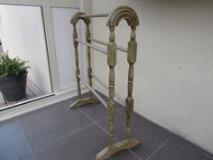 Towel rail, was plain cream to start with,used various colors on this, Versailles, Antoinette, Emile, and dark wax painted by Margaret Whitcher and finished with clear wax to protect. It.