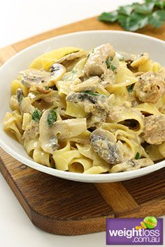 Healthy Dinner Recipes: Tuna & Mushroom Pasta. #HealthyRecipes #DietRecipes #WeightLoss #WeightlossRecipes weightloss.com.au