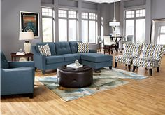 Shop for a Cindy Crawford Home   Madison Place Indigo   3 Pc Sectional Living Room at Rooms To Go. Find Living Room Sets that will look great in your home and complement the rest of your furniture. #iSofa #roomstogo