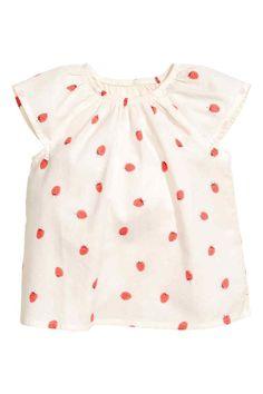 Хлопковая блузка - Натуральный белый/Земляника -   H&M RU 1