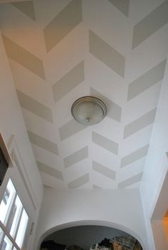 Painted Herringbone Ceiling