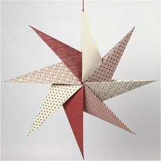 This origami star is folded from handmade paper. It is hung on a piece of gold ribbon with beads. Origami Ball, Origami Paper, Origami Boxes, Dollar Origami, Diy Origami, Kirigami, Papier Diy, Diy And Crafts, Paper Crafts
