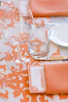 La Tavola Fine Linen Rental: Casablanca Tangerine Table Runner with Tuscany Amber Napkins | Photography: Anna Kuperberg, Venue: El Dorado Hotel & Kitchen, Event Planning: Rebecca Johnson at Kristi Amoroso Special Events, Floral & Event Design, Menus and Signage: Kathleen Deery
