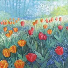 Tulip Garden by Jo Grundy - acrylic on box canvas measuring square. Watercolor Paintings, Watercolours, Art Paintings, Paisley Art, English Artists, Picture Cards, Tulips, Photo Art, Folk Art
