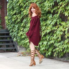 Wear It Now & For Fall: Off The Shoulder Wine Dress
