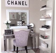 """Find and save images from the """"Room Inspo"""" collection by Lauryn (thiccbinch) on We Heart It, your everyday app to get lost in what you love. My New Room, My Room, Sala Glam, Rangement Makeup, Vanity Room, Vanity Set, Girls Vanity, Corner Vanity, Vanity Decor"""