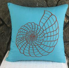 Aqua blue throw pillow with shell design - nautical- STOCK CLEARANCE SALE