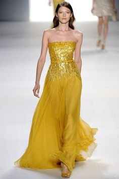 Elie Saab Spring 2012 Shades Of Yellow, Strapless Dress Formal, Pret, Creative Director, Elie Saab, Toronto, Cook, Walkway, Spring Summer