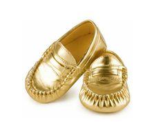 Zapatos Metallic baby mocs 12-18M, Dorado