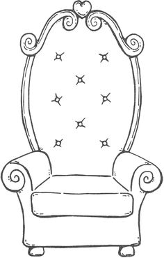 fancy chair Coloring Sheets, Coloring Books, Coloring Pages, Fancy Chair, Chair Drawing, Busy Book, Paper Dolls, Baby Knitting, Card Making
