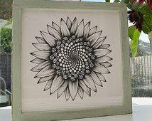 Framed Sunflower print. Unique art gift. Distressed shabby chic. Breen botanical art. Fibonacci spiral drawing. Sunflower wedding theme.